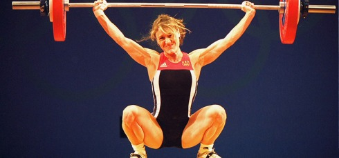 17 Sep 2000:  Robin Goad of the USA in action in the Women's 48kg Weightlifting event at the Convention Centre in Darling Harbour on Day Two of the Sydney 2000 Olympic Games in Sydney, Australia.  Mandatory Credit: Clive Brunskill /Allsport